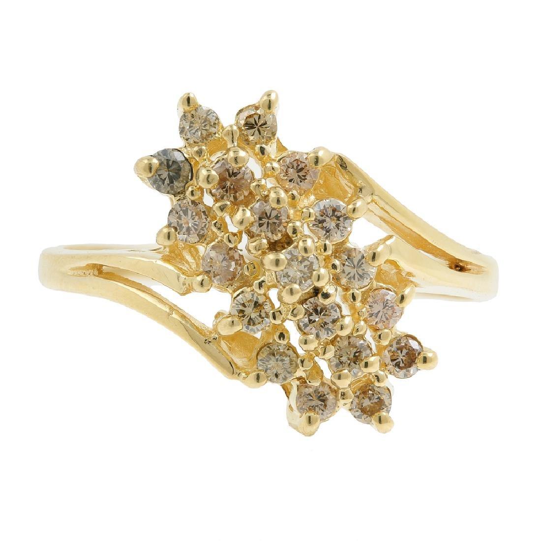 Classic Estate Ladies 14K Yellow Gold Diamond Cluster