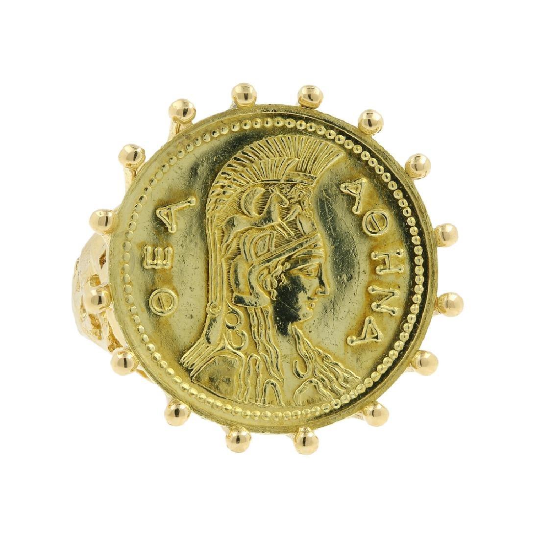 Vintage Estate Ladies 18K Yellow Gold  Athena Coin