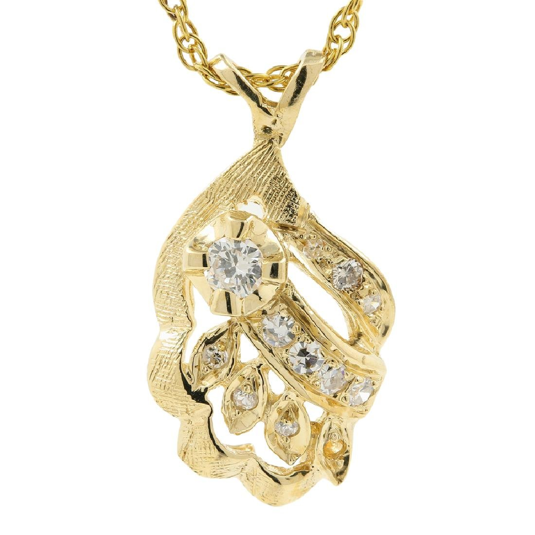 Exquisite Estate Ladies 14K Yellow Gold Diamond Pendant