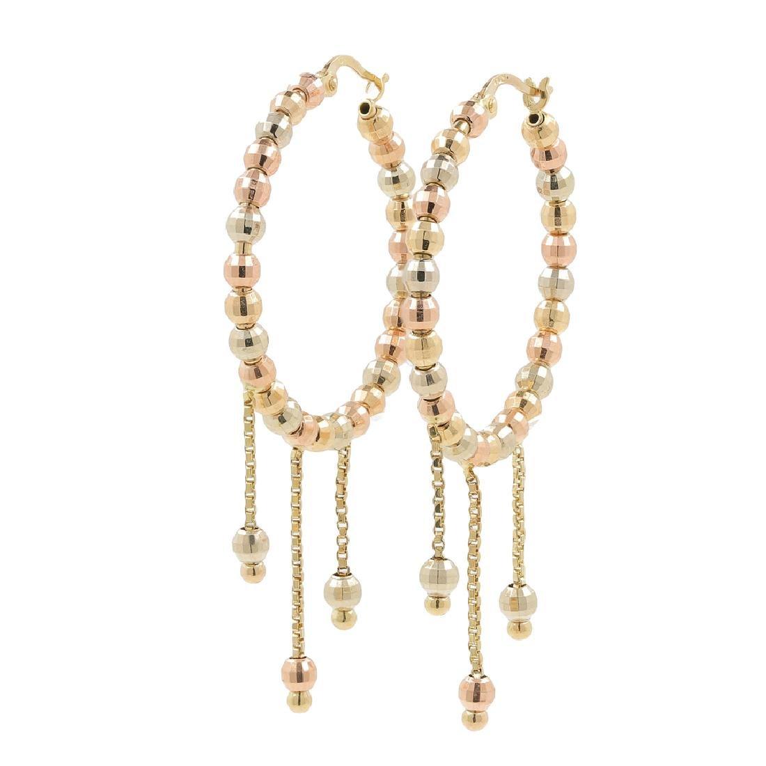 Ladies Classic 14K Tri-Color Gold Chandelier Bead