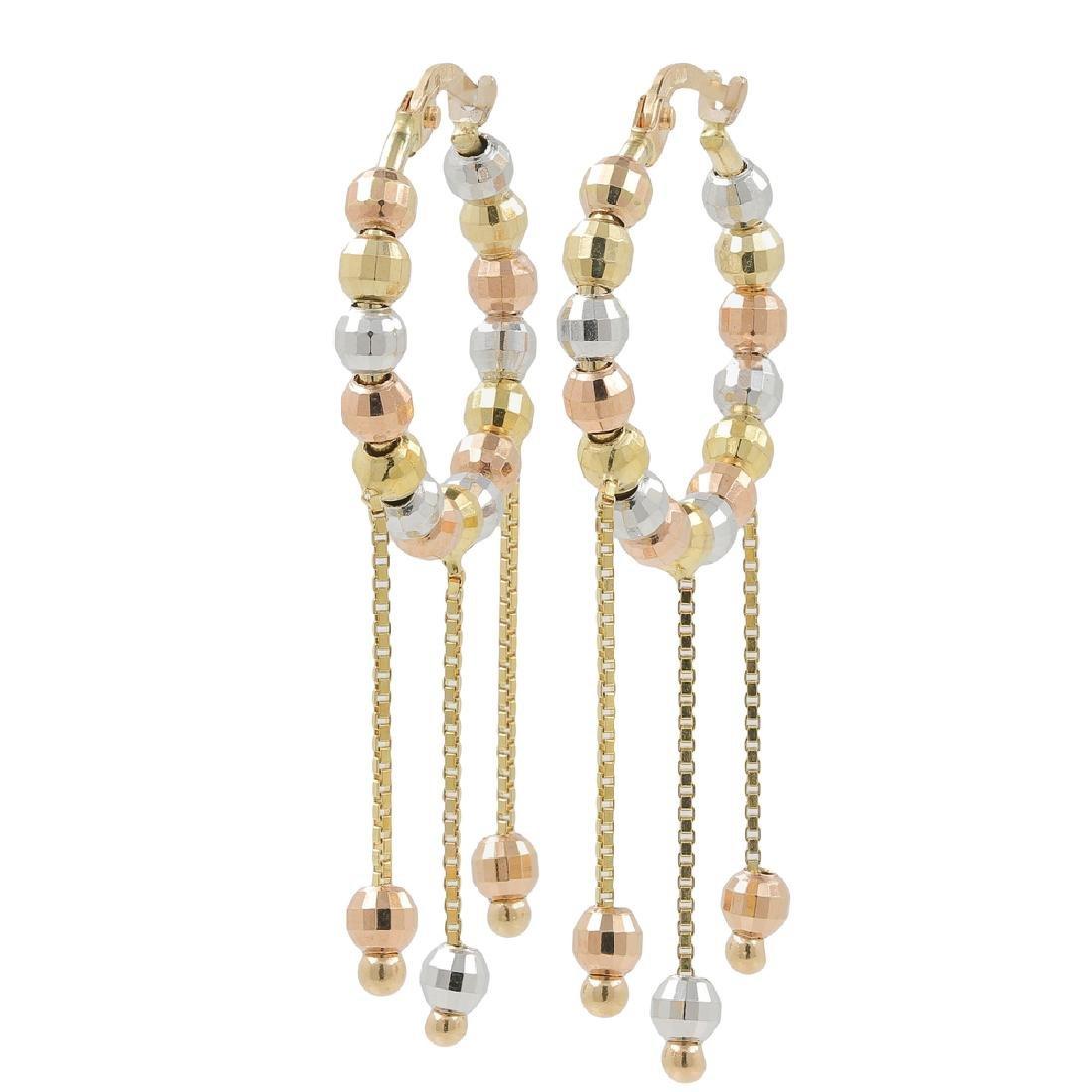 Ladies Estate 14K Tri-Color Gold Chandelier Bead Saddle
