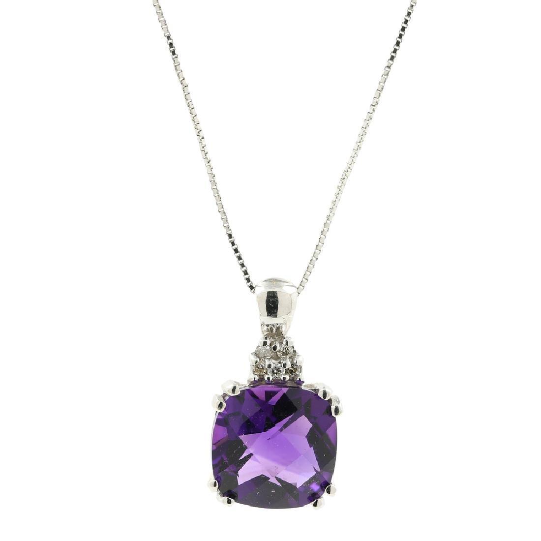 Ladies Estate 14K White Gold Purple Amethyst & Diamond
