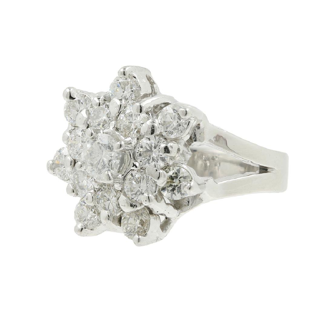 Estate Ladies 18K White Gold Diamond Rosita Cluster