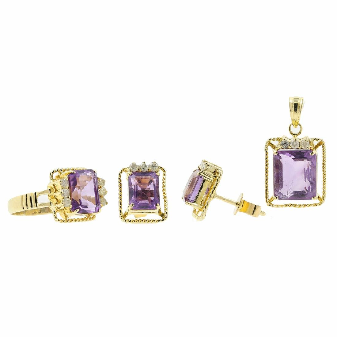 Estate 14K Yellow Gold Diamond & Amethyst Ring Earrings