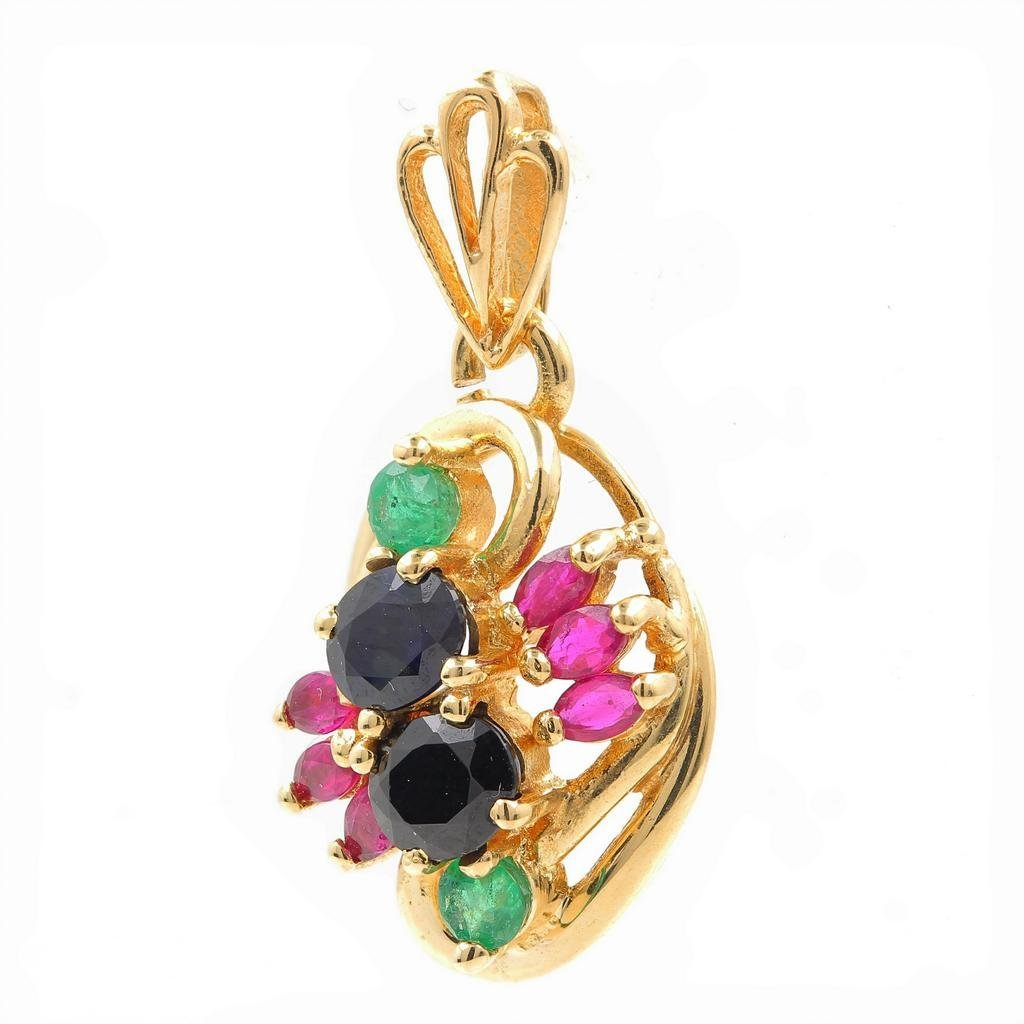 Vintage Estate 14K Yellow Gold Multicolored Emerald