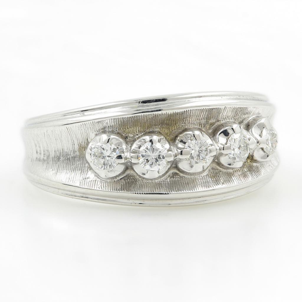 Vintage Classic Estate 14K White Gold Diamond Ring - - 2
