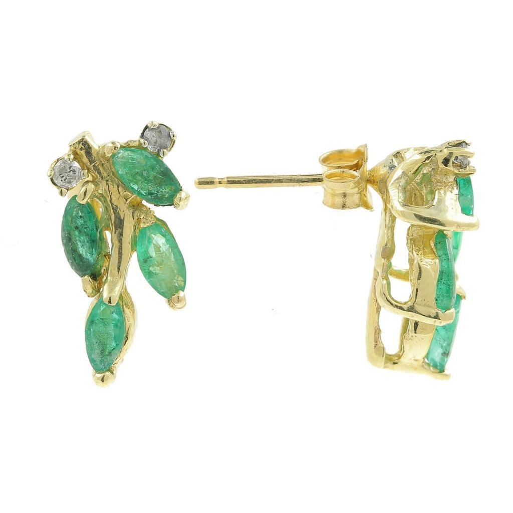 Vintage Estate 14K Yellow Gold Emerald Marquise