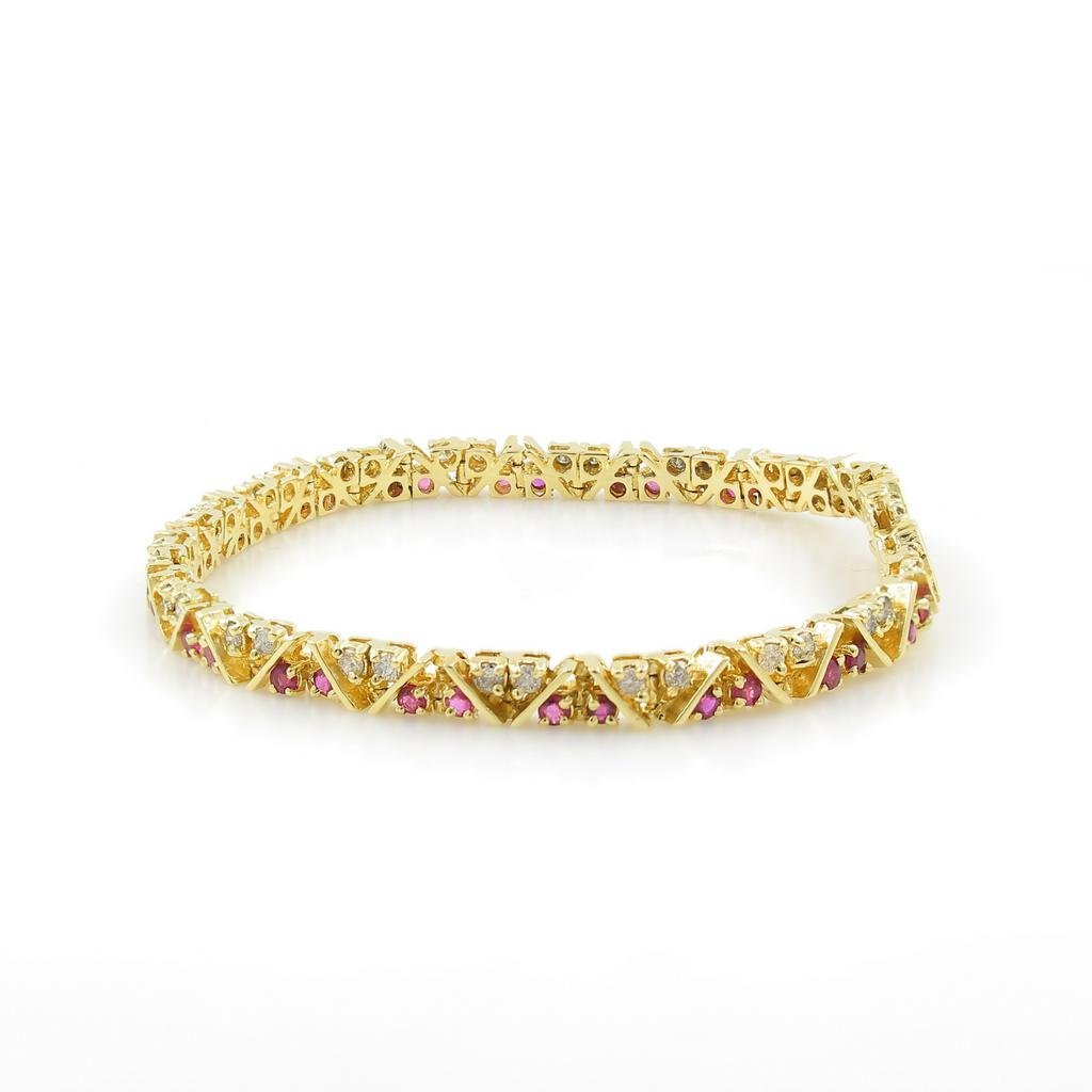 Vintage Estate 14K Yellow Gold Red Spinel Diamond