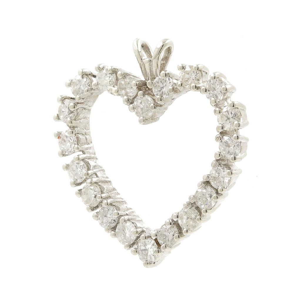 Vintage Estate 14K White Gold Natural Diamond Open