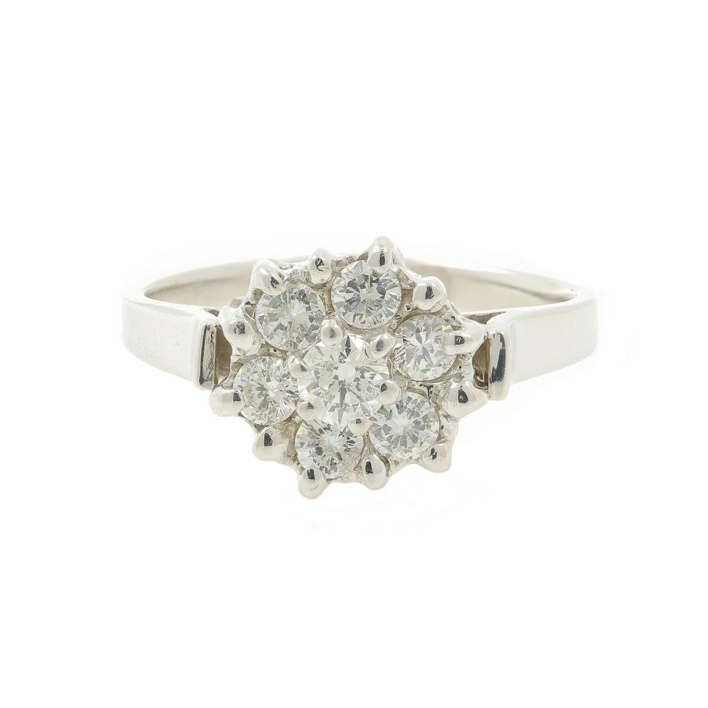 Vintage Estate Ladies 14K White Gold Fancy Diamond