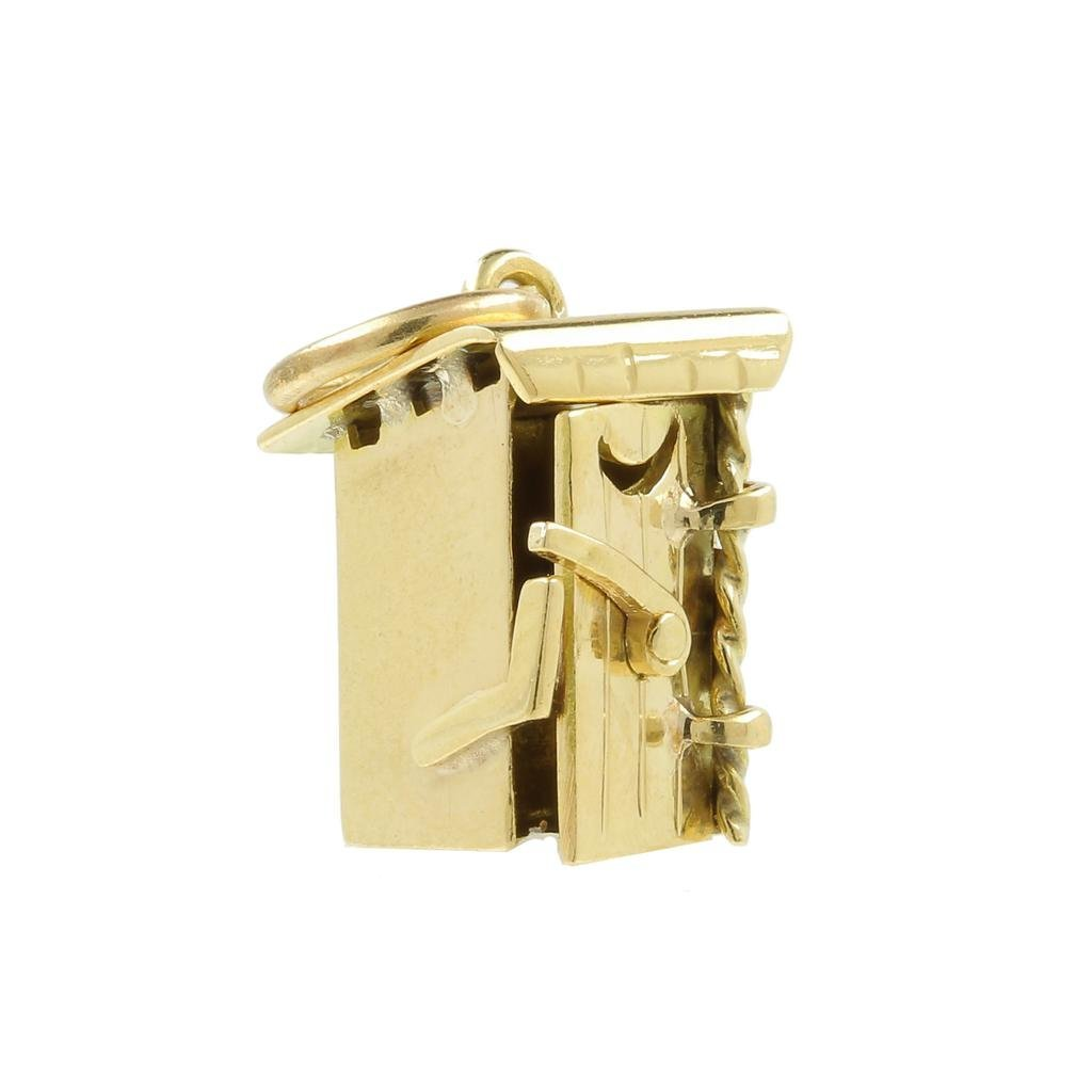 Estate 14K Yellow Gold Detailed 18MM 3D Outhouse Charm - 2