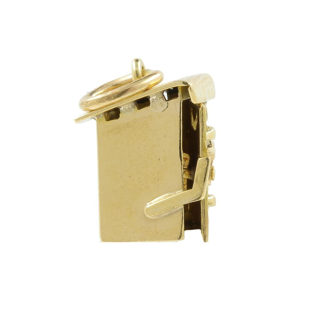 Estate 14K Yellow Gold Detailed 18MM 3D Outhouse Charm - 3