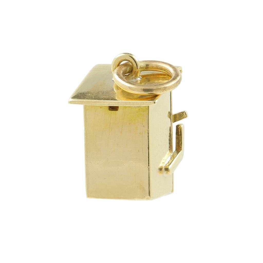Estate 14K Yellow Gold Detailed 18MM 3D Outhouse Charm - 4