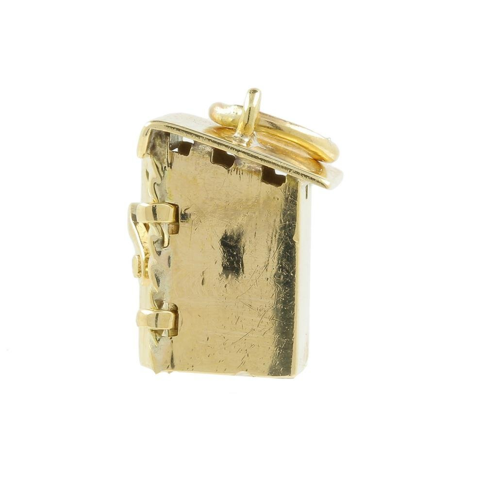 Estate 14K Yellow Gold Detailed 18MM 3D Outhouse Charm - 5