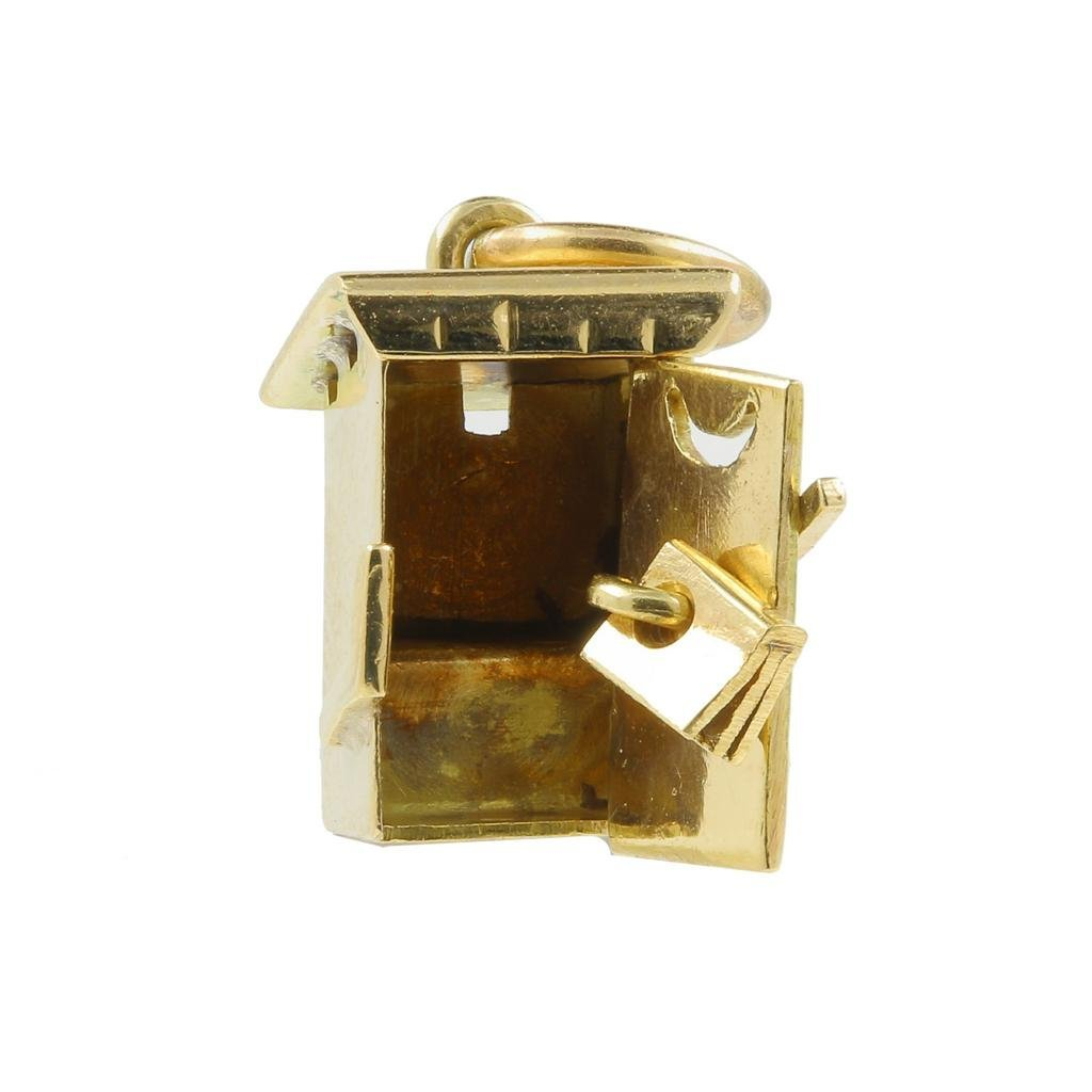 Estate 14K Yellow Gold Detailed 18MM 3D Outhouse Charm - 6