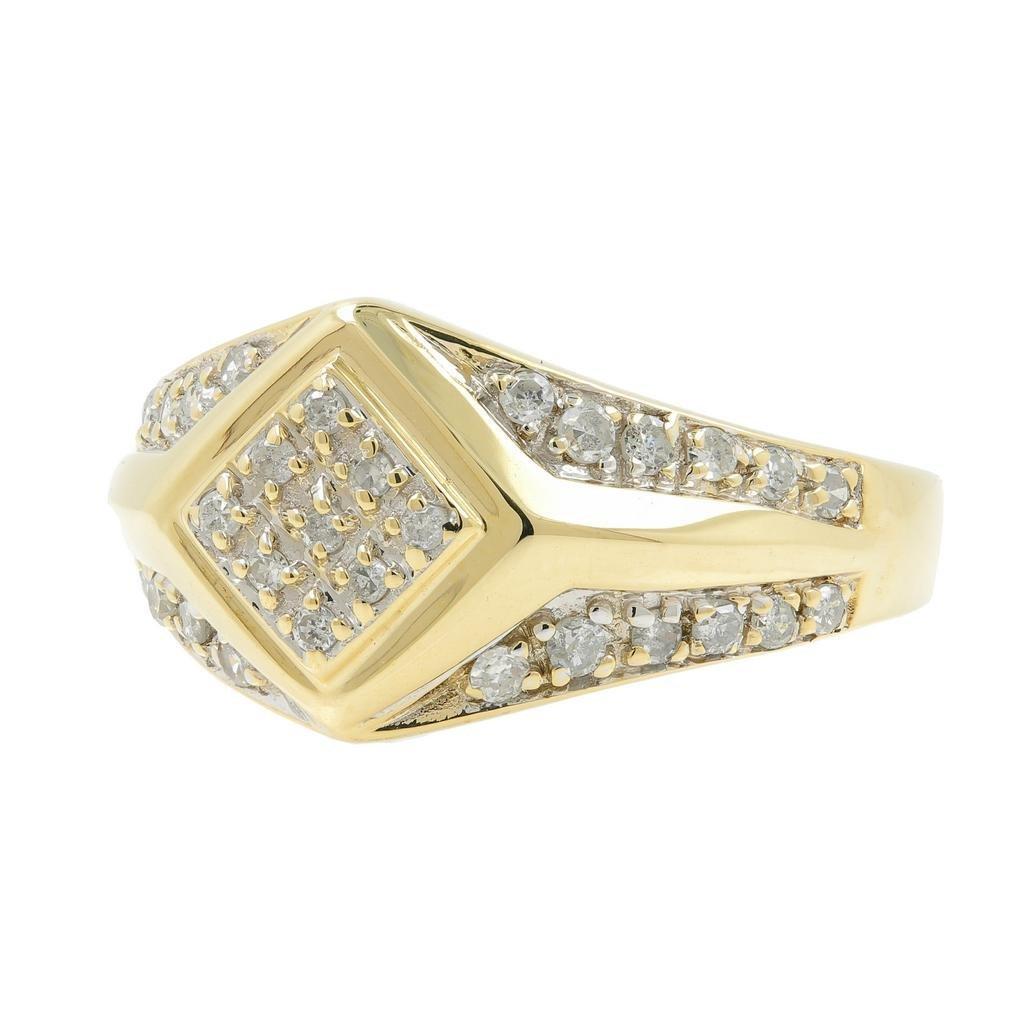 Handsome Men's Vintage 14K Yellow Gold Diamond Ring