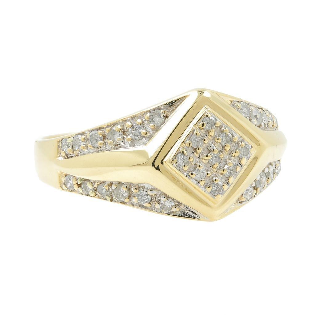 Handsome Men's Vintage 14K Yellow Gold Diamond Ring - 3