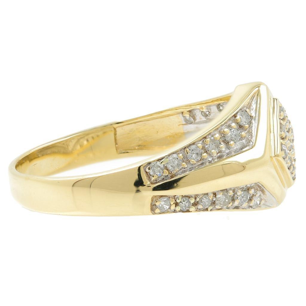 Handsome Men's Vintage 14K Yellow Gold Diamond Ring - 4