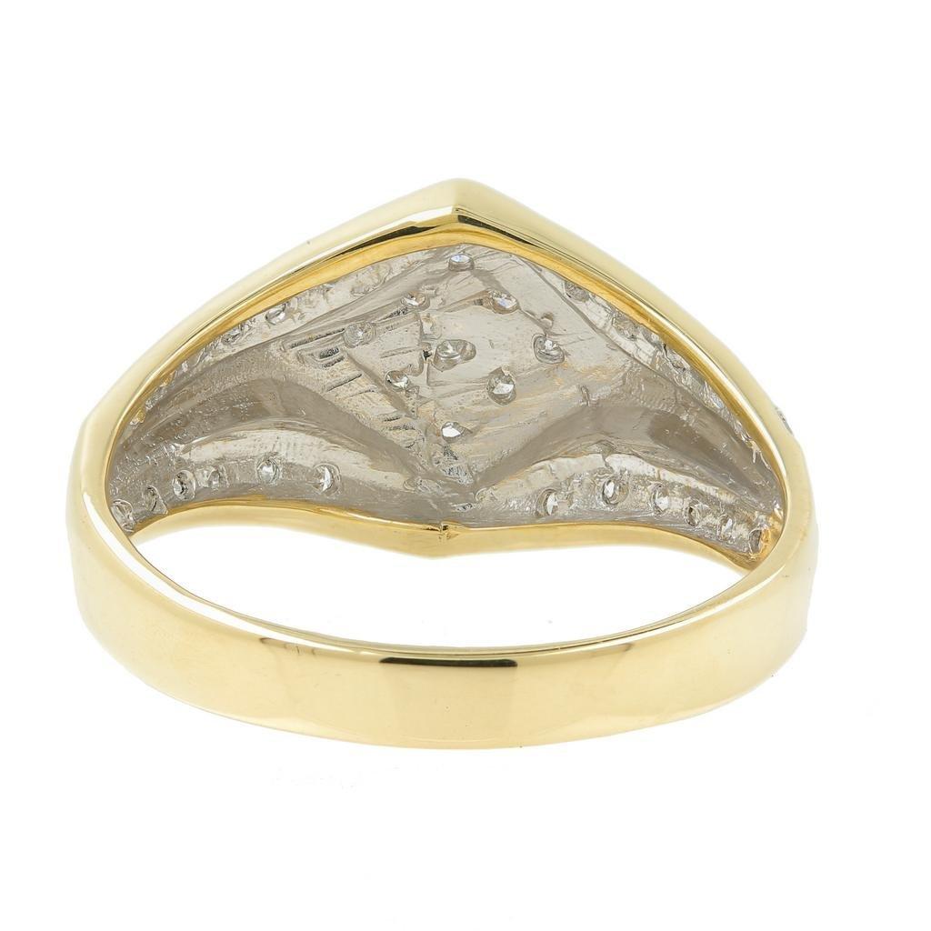 Handsome Men's Vintage 14K Yellow Gold Diamond Ring - 5
