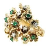 Vintage Estate 14K Yellow Gold Diamond Emerald Floral