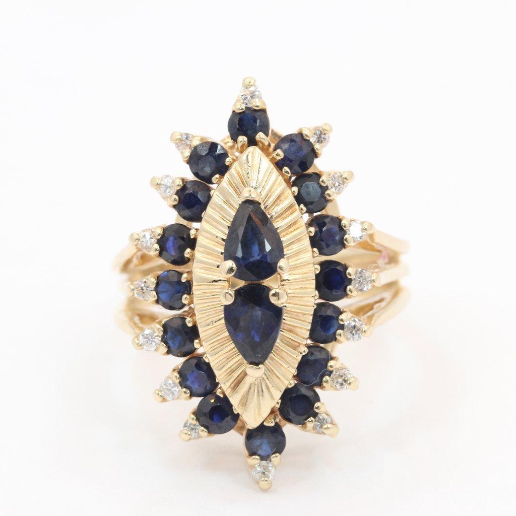 Fine Vintage Estate 14K Yellow Gold Diamond Blue