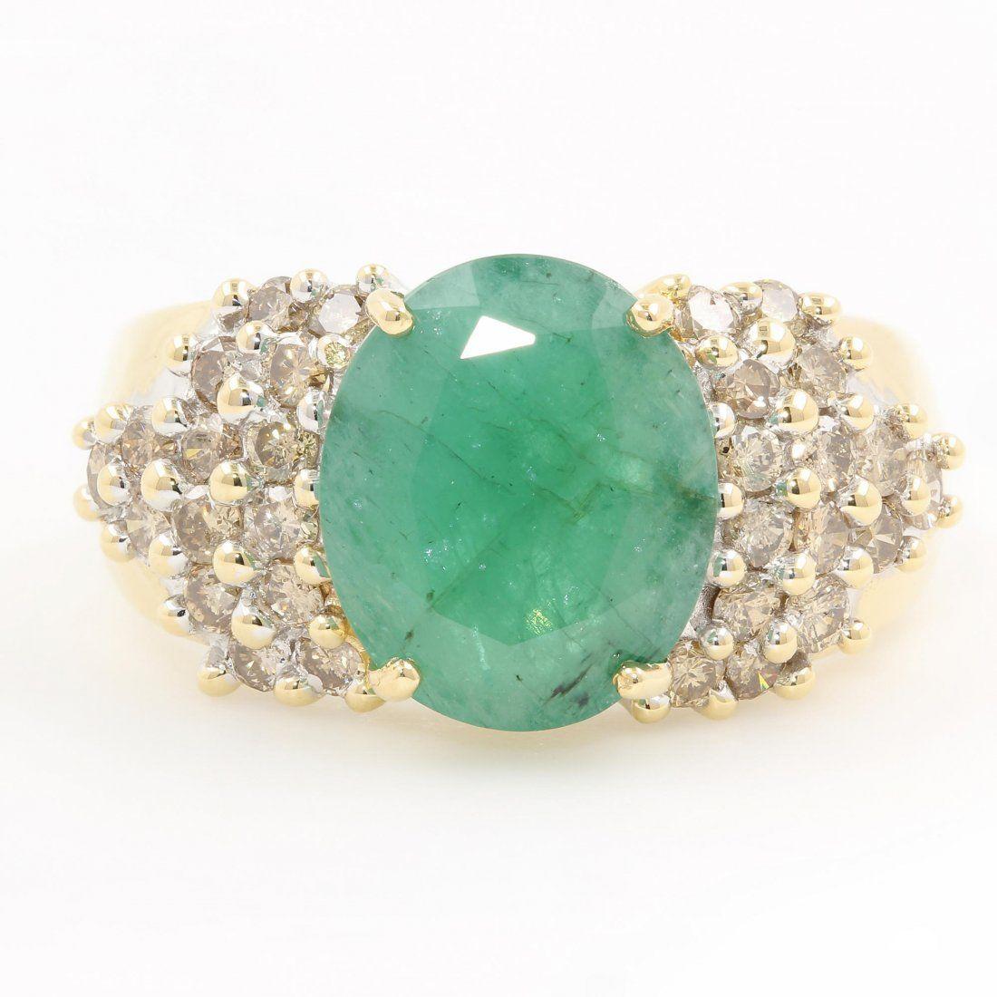 Vintage Estate Ladies 14K Yellow Gold Diamond Emerald