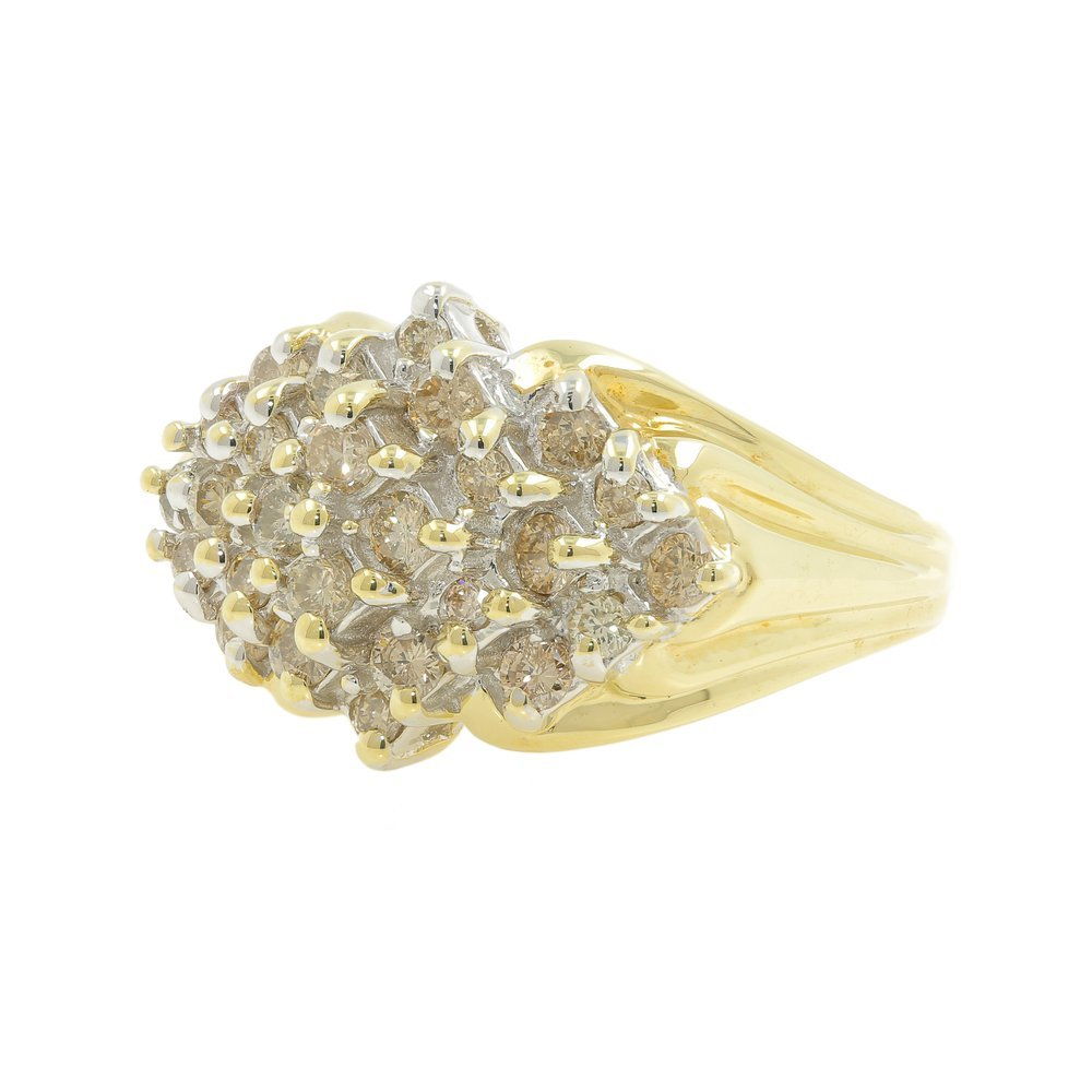 Vintage Estate Ladies 14K Yellow Gold Diamond Cluster
