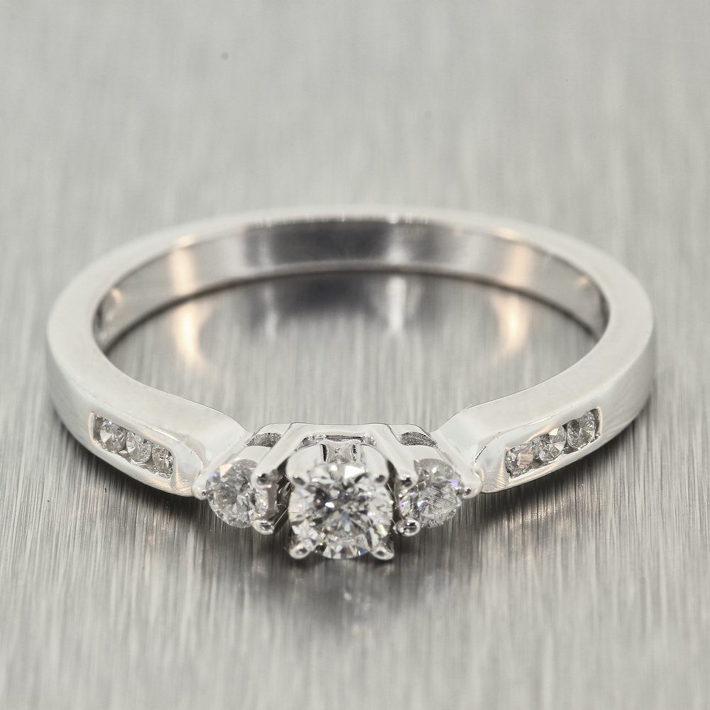 Modern 14K White Gold Three Stone Side Accent Diamond