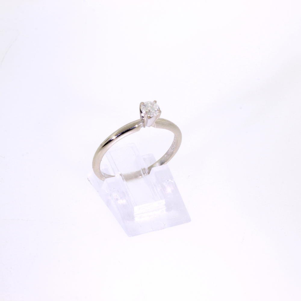Vintage Estate 14K White Gold Diamond Solitaire