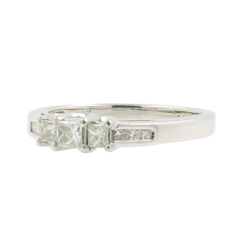 Classic Ladies 14K White Gold Three Stone Princess Cut