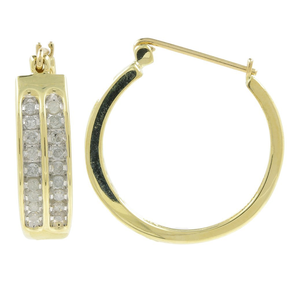 Classic Ladies 10K Yellow Gold Diamond Hoop Saddle Back