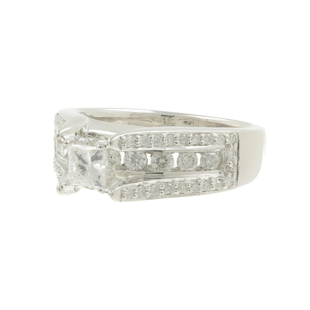 Estate 14K White Gold Ladies Princess Cut Diamond