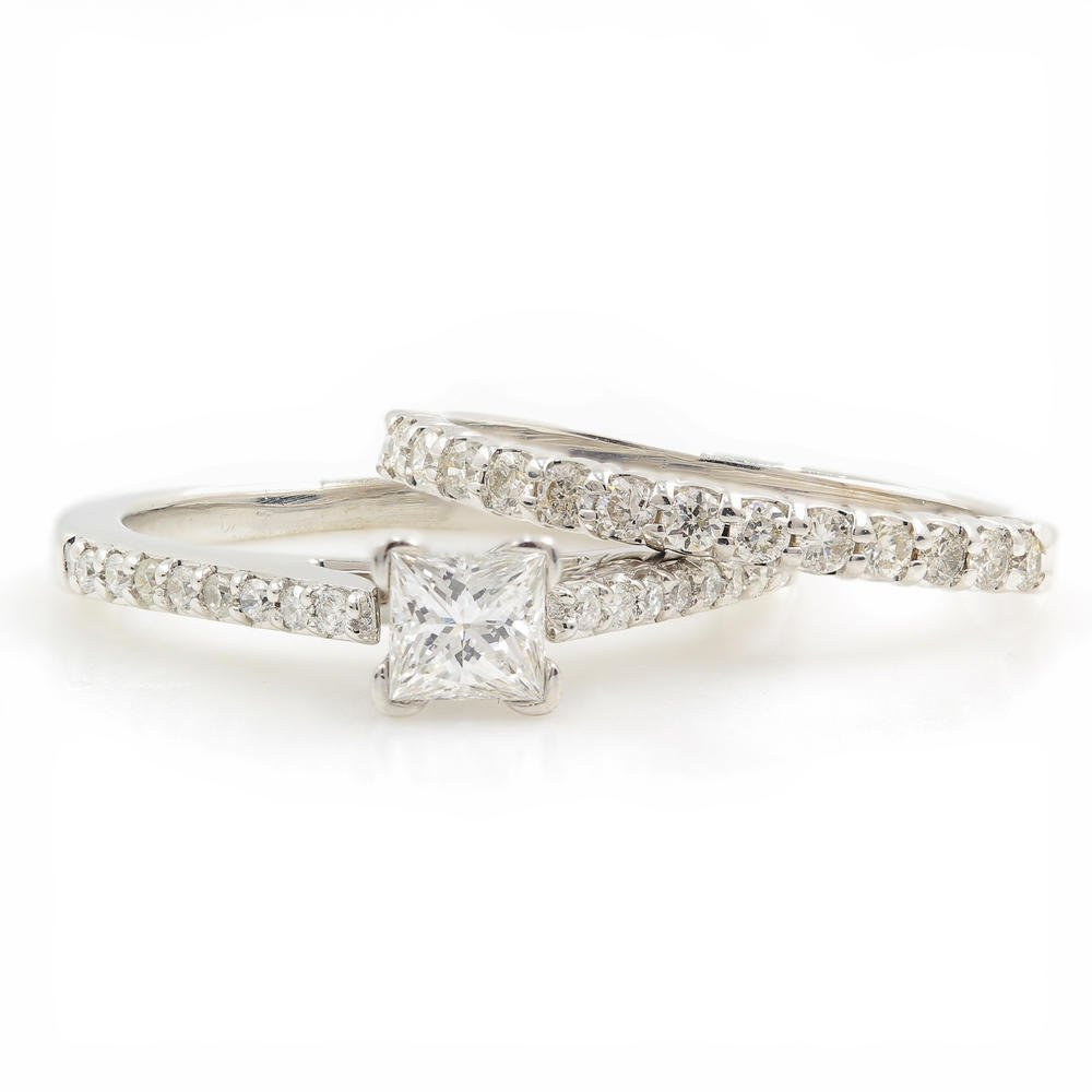 Elegant Modern 14K White Gold Princess Cut Diamond