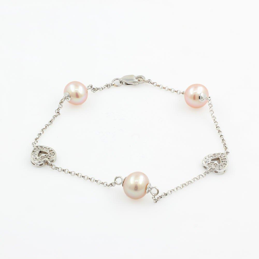 Vintage Estate Ladies 14K White Gold Pink Pearl Heart 7