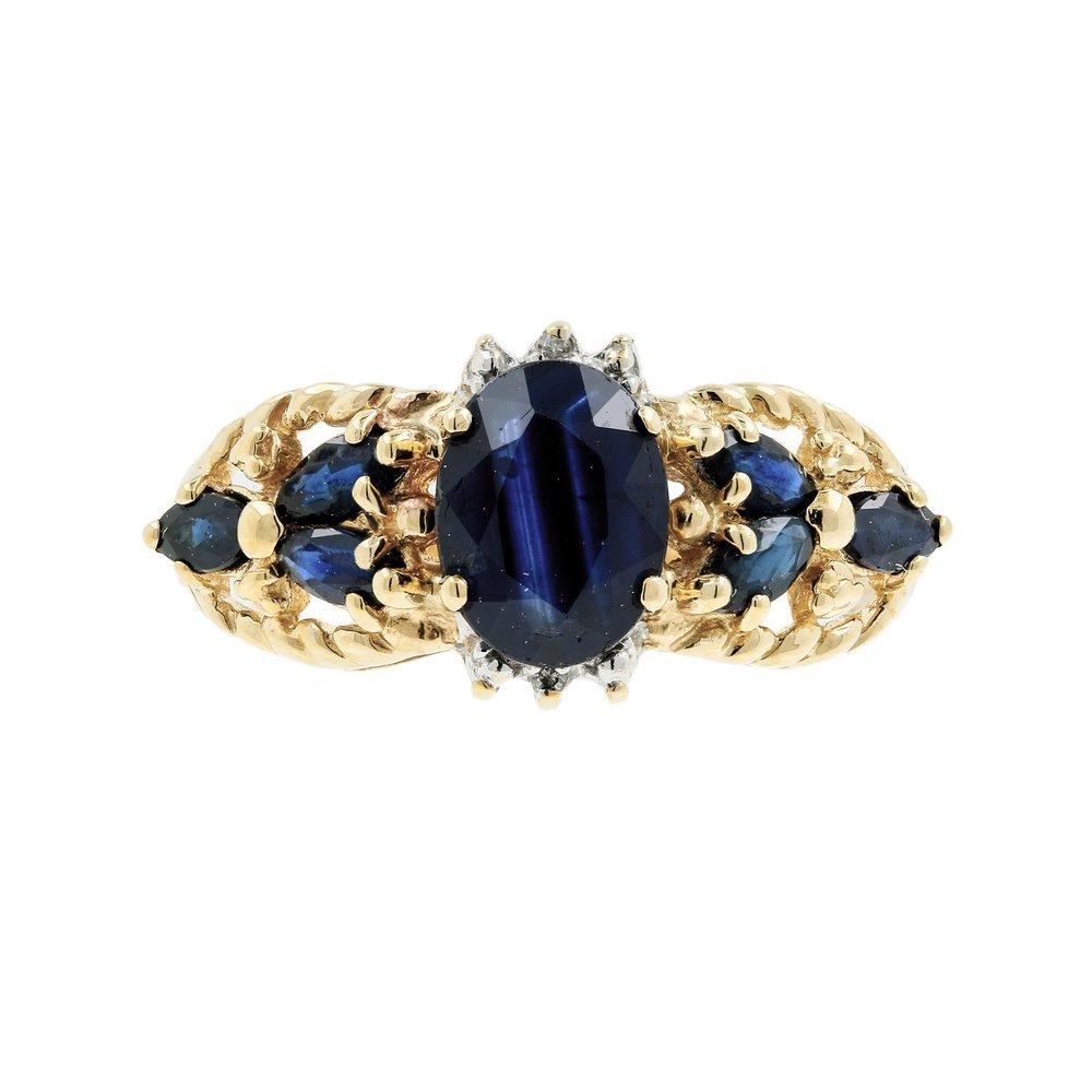 Estate Vintage Ladies 10K Yellow Gold Sapphire Diamond