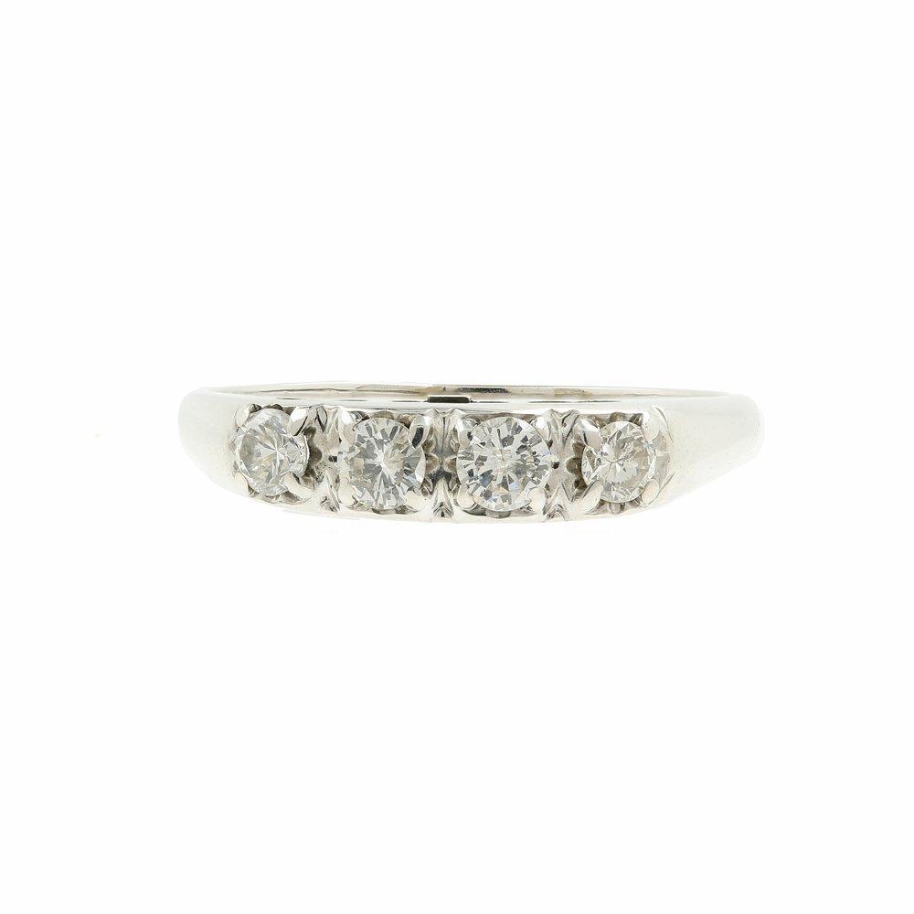 Vintage Estate 14K White Gold Diamond 0.40CTW