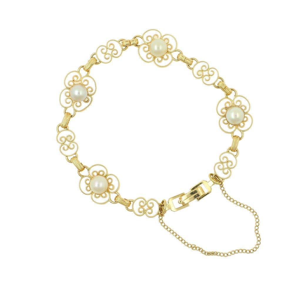 Vintage Estate Ladies 14K Yellow Gold Pearl Ornate