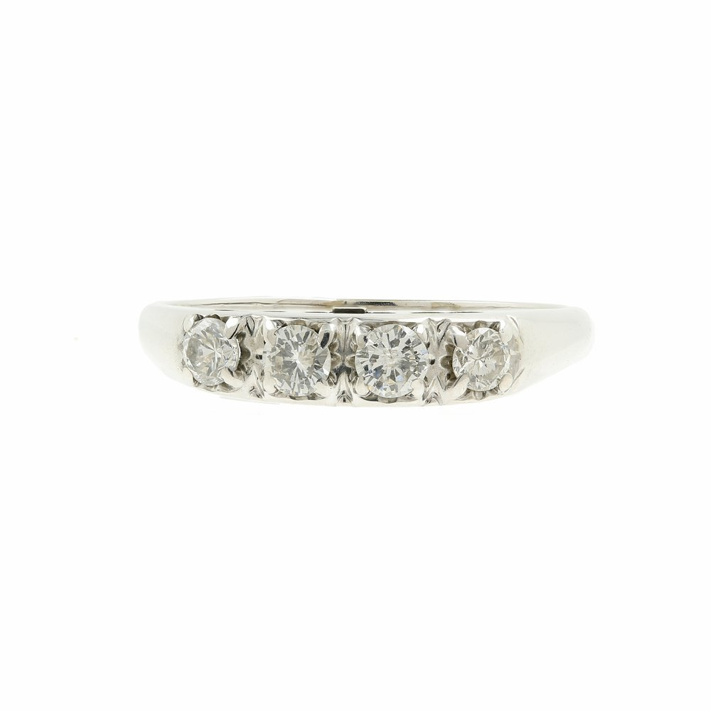 Vintage Estate 14K White Gold Diamond 0.40CTW