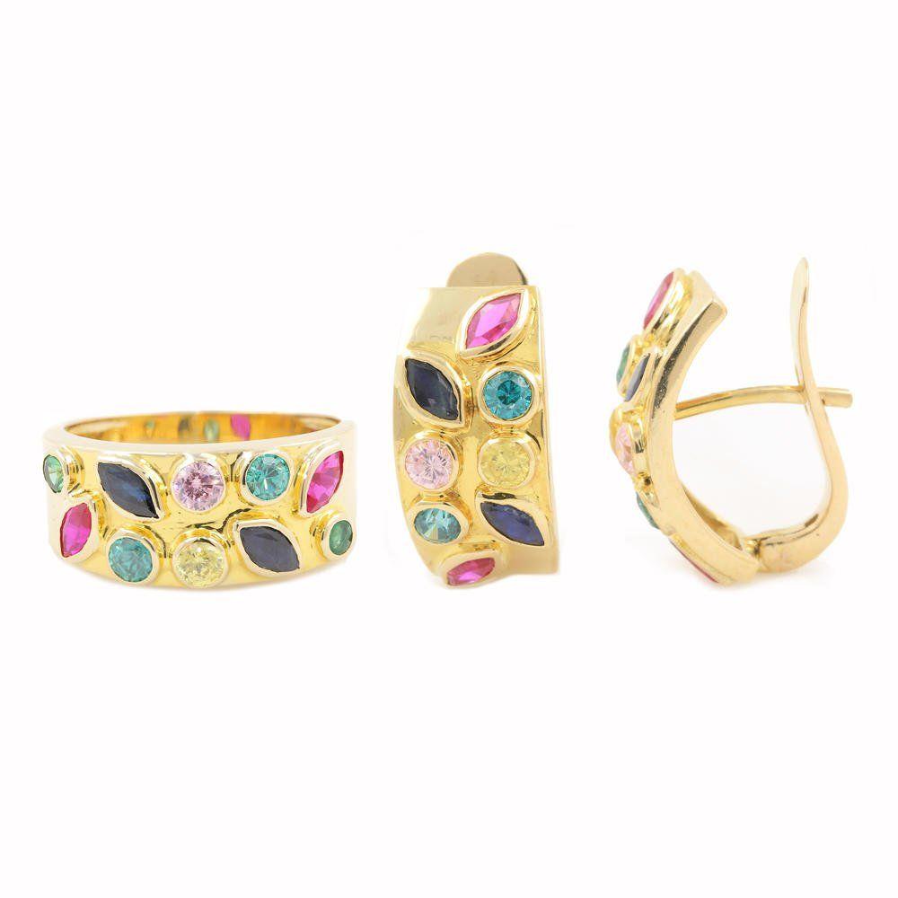 Vintage Natural Gemstones 14K Yellow Gold Ladies Ring