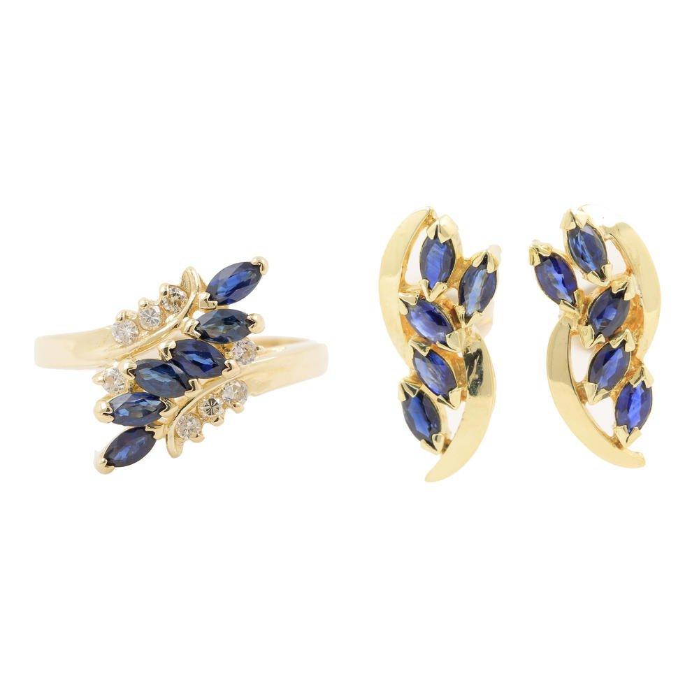 Marvelous Blue Sapphire 14K Yellow Gold Diamond Jewelry