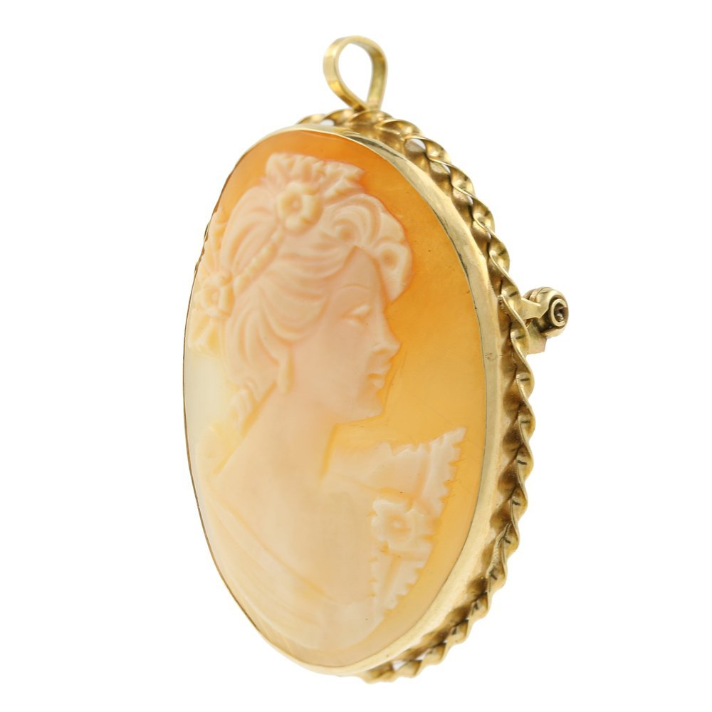 Vintage Estate 14K Yellow Gold Cameo Pin Pendant Brooch