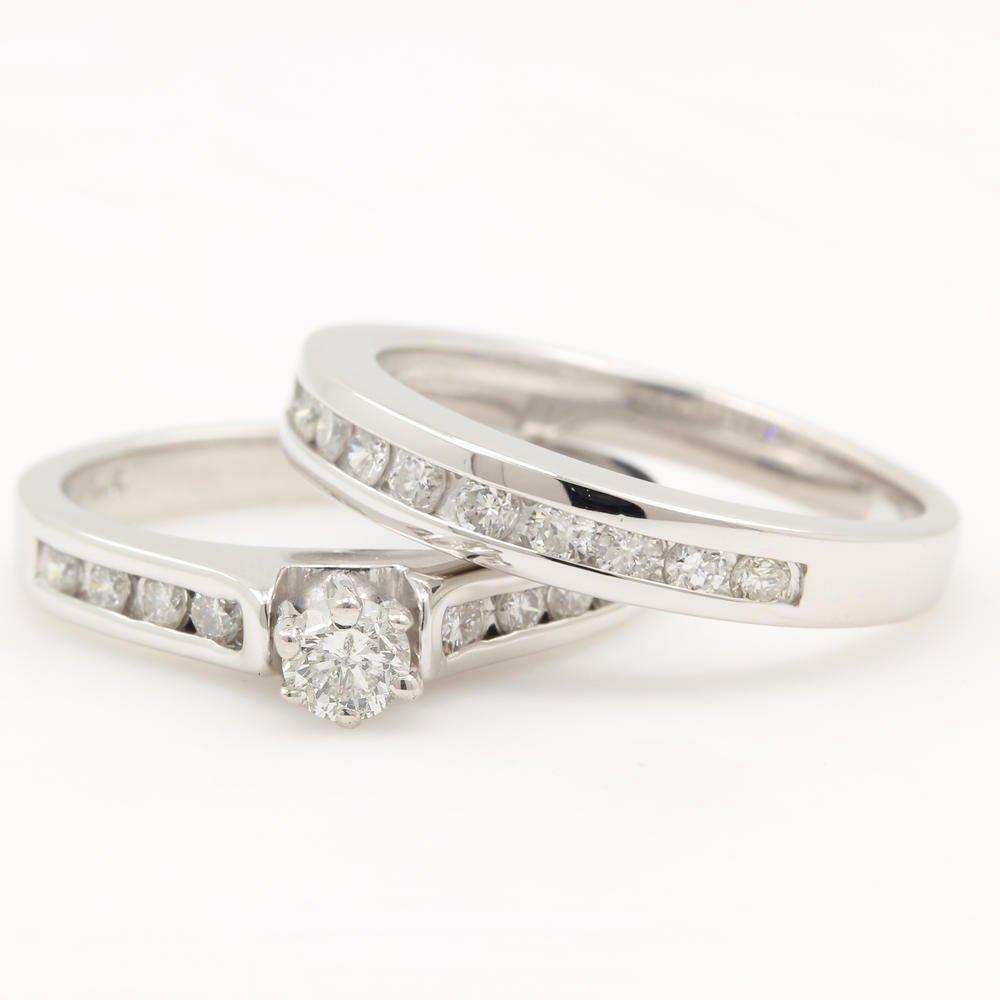 NEW Classic Modern 14K White Diamond Wedding Ring