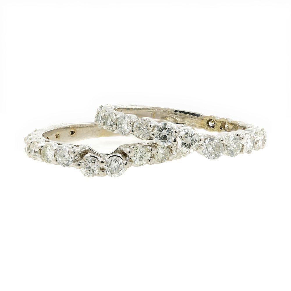 Estate Ladies 14K White Gold Diamond Wedding Ring 3PC