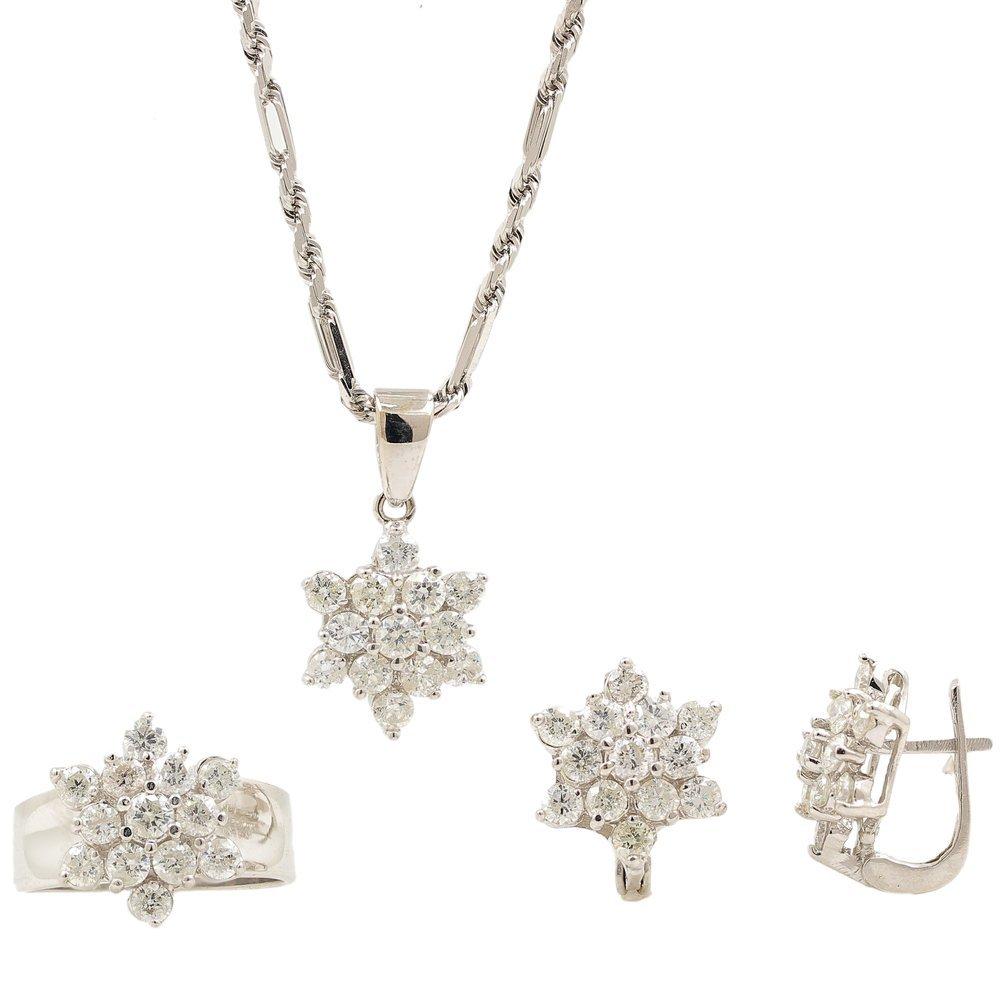 Estate 14K White Gold Diamond 5.40CTW Rosita Pendant