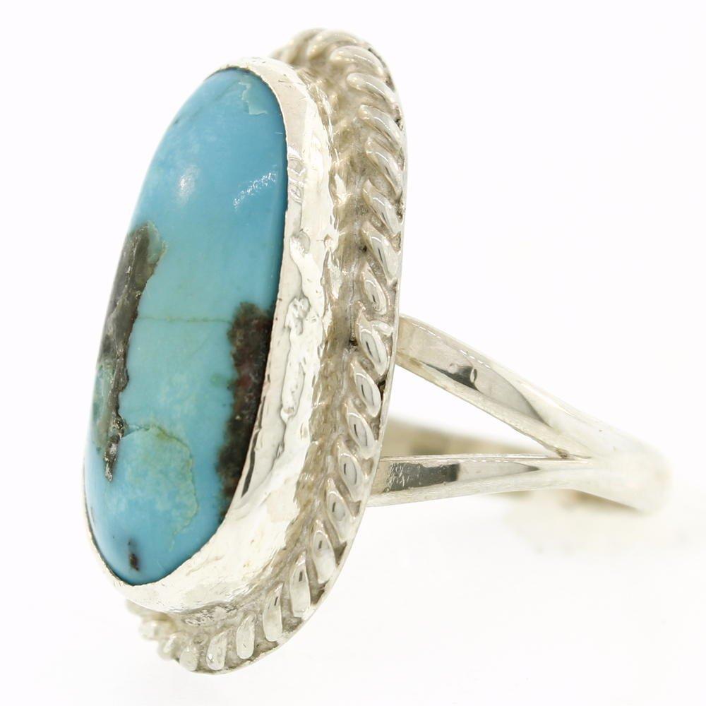 Vintage Estate Sterling Silver 925 Oval Turquoise