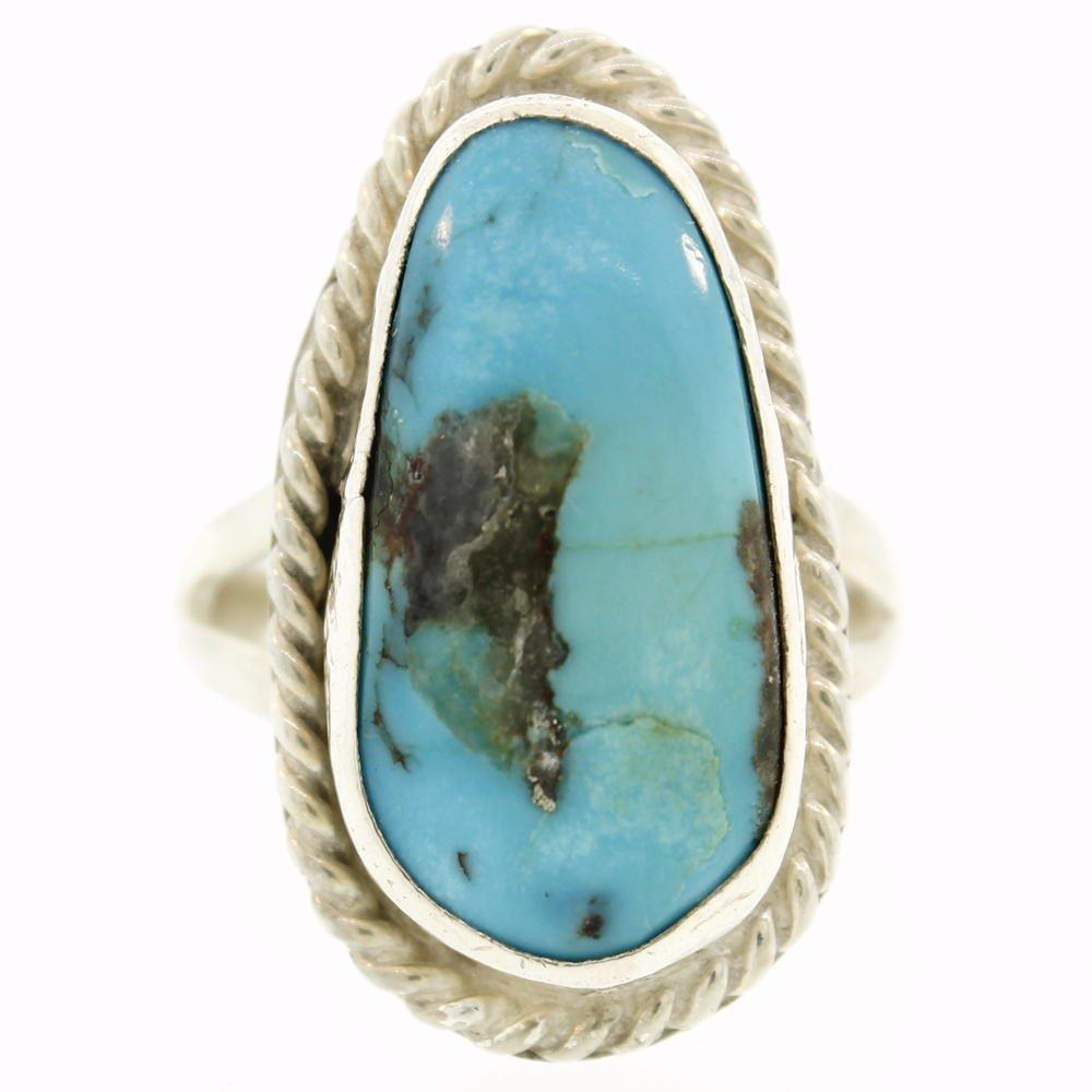 Vintage Estate Sterling Silver 925 Oval Turquoise - 2