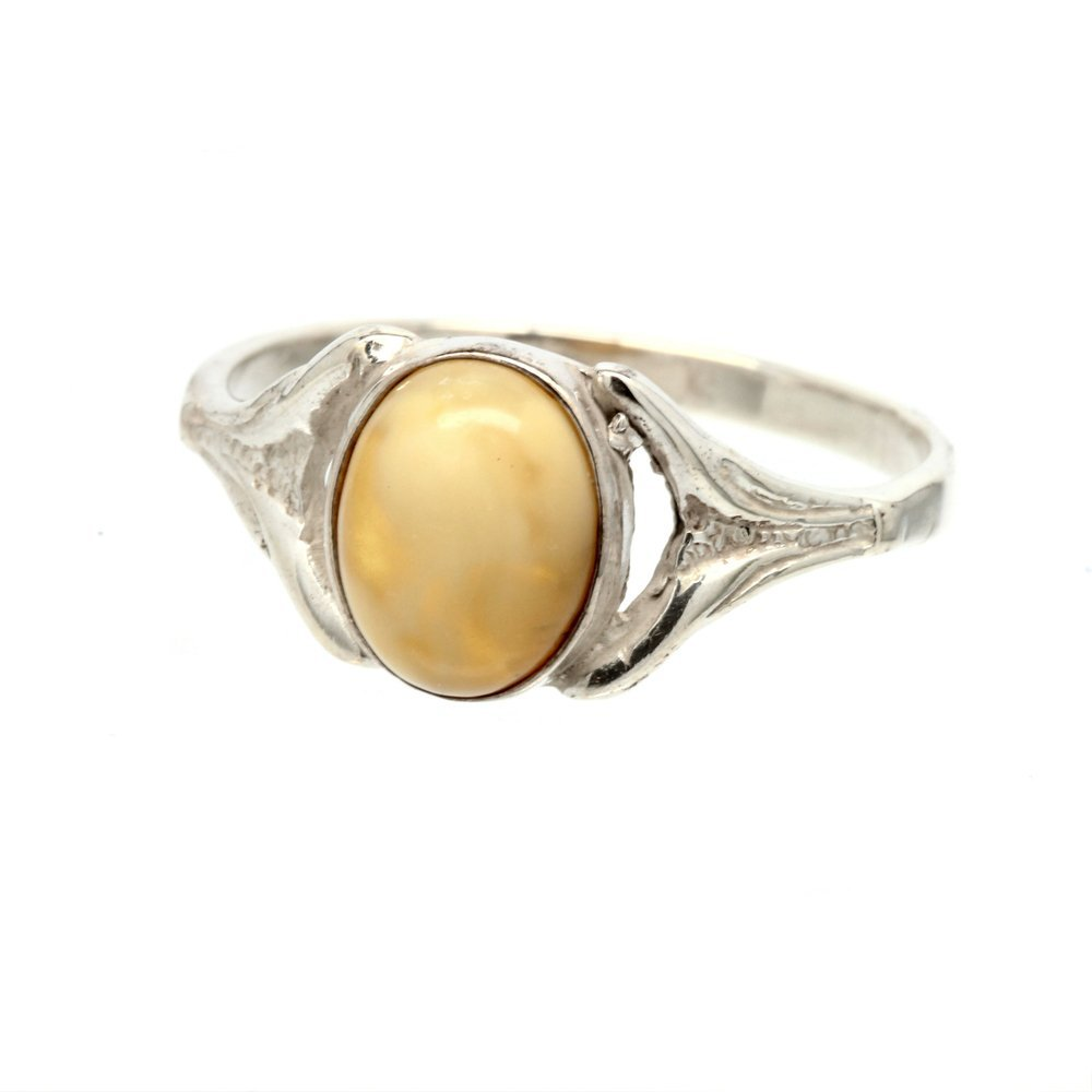 Estate 925 Ladies Silver Yellow Amber Right Hand Ring