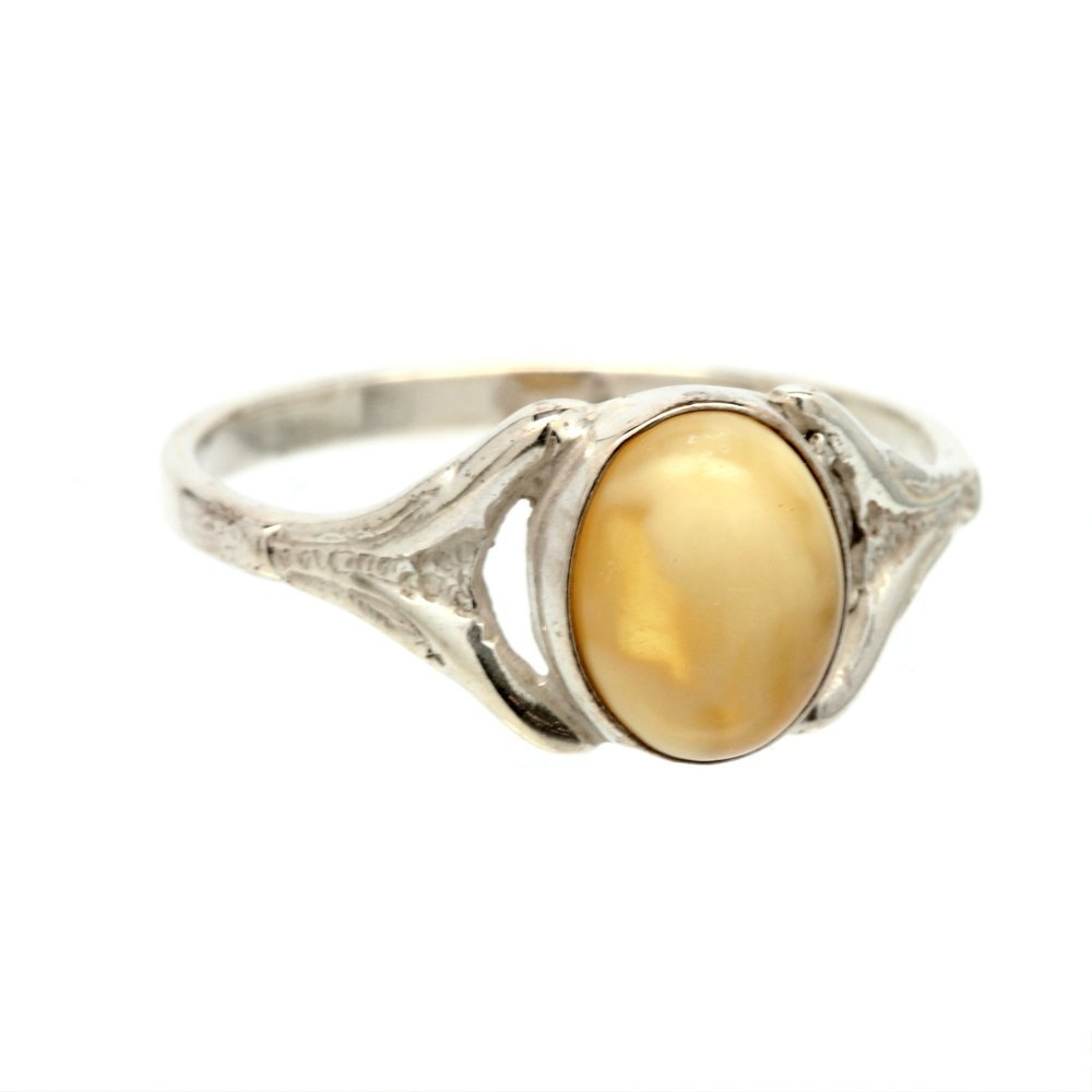Estate 925 Ladies Silver Yellow Amber Right Hand Ring - 2