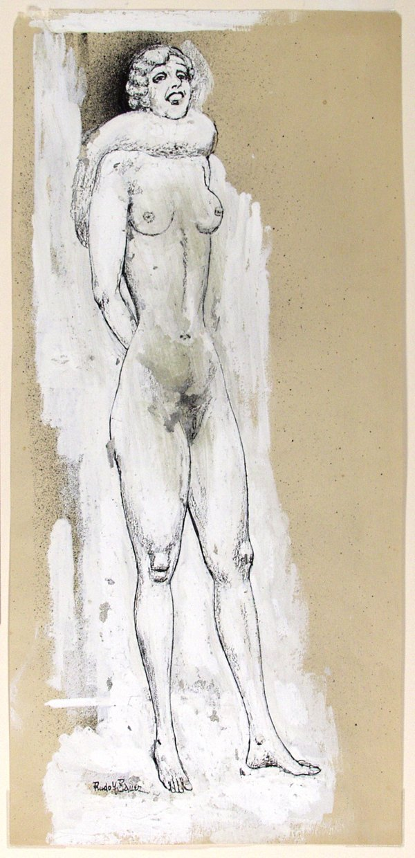 16: Rudolf Bauer, Nude with Muff.-Gouache and ink.