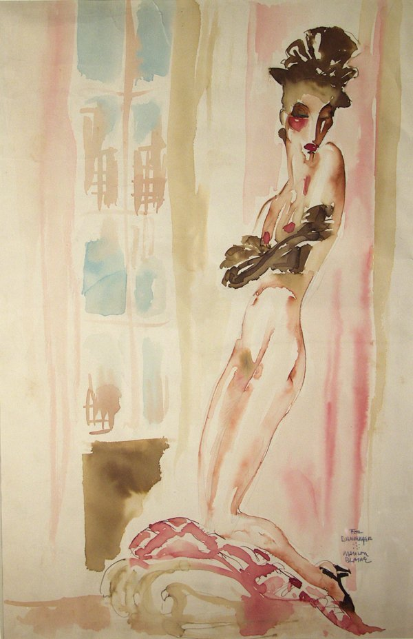 17: Mahlon Blaine, Pink Lady.-Watercolor.